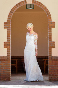 Slim fit A-line wedding gown with Chantilly lace overlay with sleeves