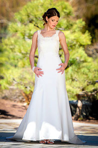 Slim fit silk satin A-line wedding gown with Alcon lace and straps