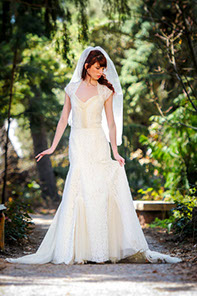 A-line strech lace wedding gown with English netting and open back